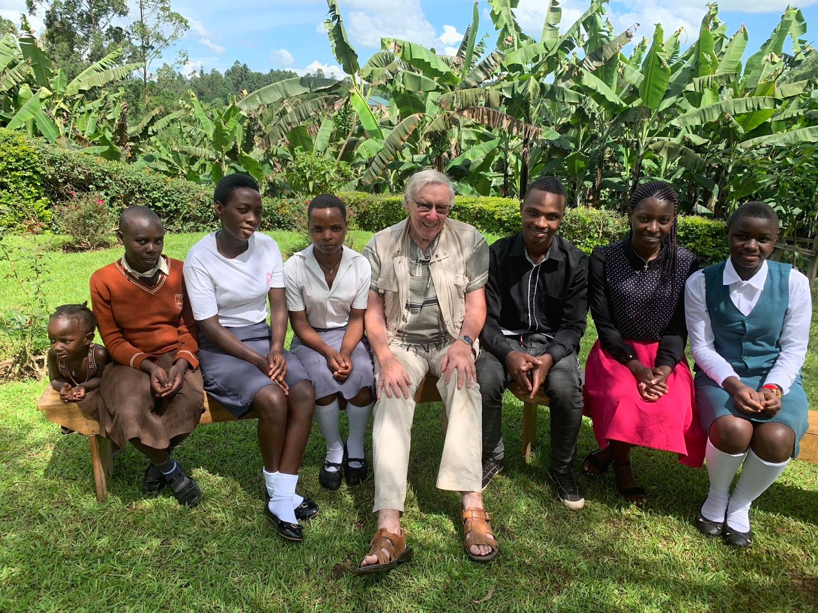 Peter sat down with some pupils from